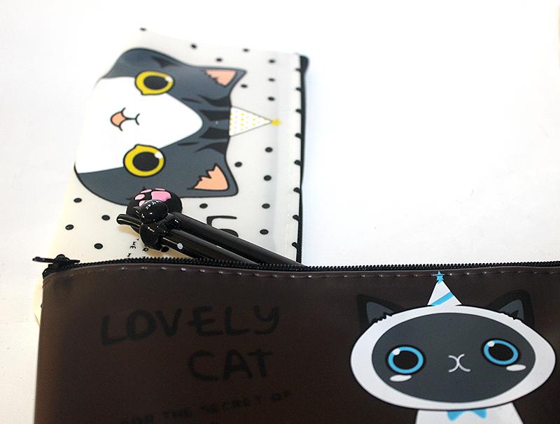 cicás tolltartó, macskás ajándék