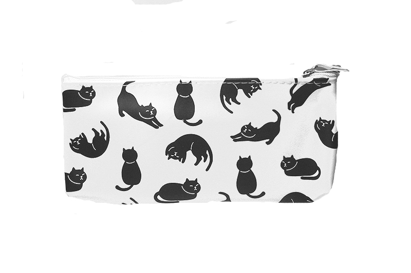 fehér macskás tolltartó, cicás ajándékok