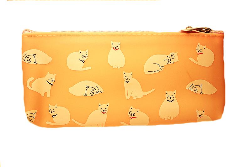 narancssárga macskás tolltartó