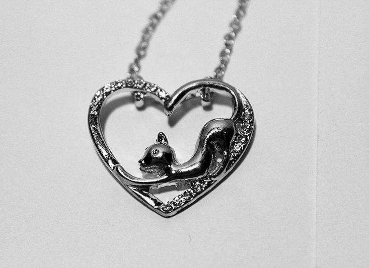 ezüst cicás ékszer, macskás nyaklánc